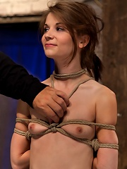 Extreme reverse Prayer Category 5 HogtiedTying done on screen. Former Disney star made to cum.